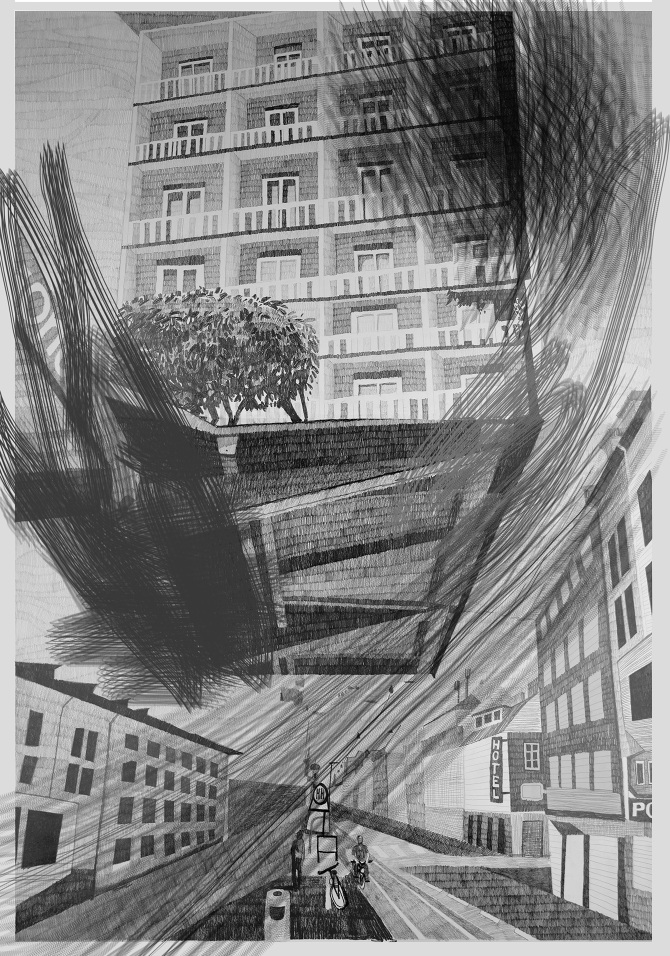 window pencil drawing. streets where brushstrokes and drawings greet each other from window to 2015, 140x100 cm, graphitstift auf papier /graphite pencil on paper window drawing