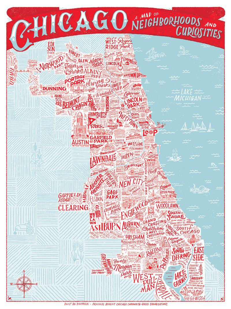 Chicago Neighborhood Map Poster | compressportnederland on
